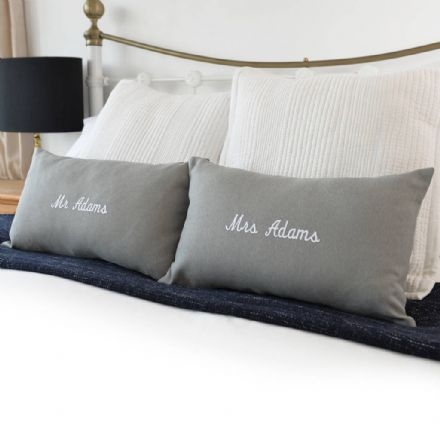 Personalised Mr And Mrs Embroidered Cushions